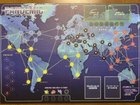 パンデミックのゲームボードの写真画像